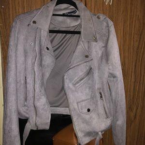 Grey faux suede jacket